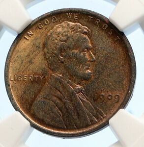 1909 USA United States of America LINCOLN WHEAT EARS OLD CENT Coin NGC i95609
