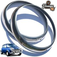 "Classic Mini MG Land Rover 7"" Stainless Steel Headlight Lamp Trim Rings Bezels"