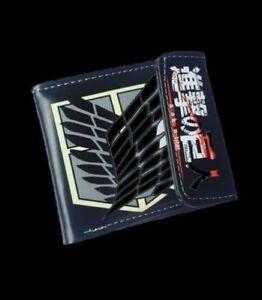 Anime attack on titan anime Cosplay Custom PU short wallet colorful printing