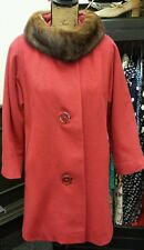 Vintage 40s-50s red wool coat hand tailored real mink collar