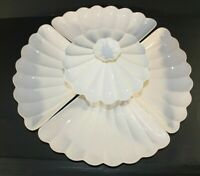 Vintage California USA Vintage Pottery C613 Chip Dip Lazy Susan Dishes Set White