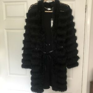 Just Cavalli Coat Cardigan Outwear With Fur Size M ,RRP $1180
