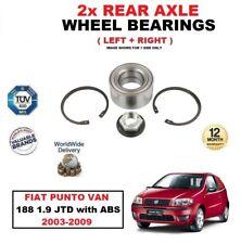 para FIAT PUNTO Van 188 1.9 JTD CON ABS 2003-2009 Eje Trasero Rodamientos Set