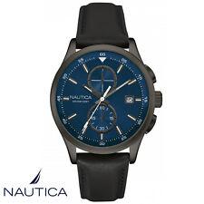 Nautica . NAD18522G . Armband Uhr Herren . Chronograph . Leder . schwarz . NEU