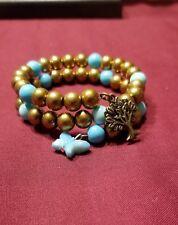 2 Wrap 8mm Memory Wire Bracelet Handmade Gold & Turquoise Beaded Boho Style