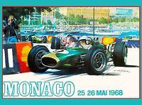 1968 Monaco 26th Grand Prix Racing Race Car Advertisement Vintage Poster