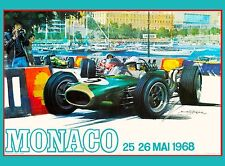 1968 Monaco 26th Grand Prix Automobile Race Car Advertisement Vintage Poster