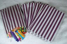 50 Purple & White Stripe Paper Sweet Bags Any Occasion Pick 'n' Mix Bags