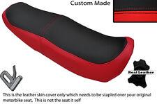 Rojo Y Negro Custom encaja Honda Ns 125 F n doble de piel cubierta de asiento solamente