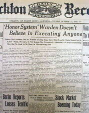 1916 newspaper SING SING PRISON WARDEN FIRED for opposing CAPITAL PUNISHMENT