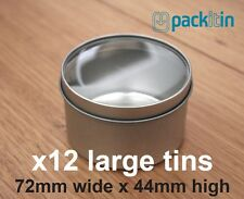 x12 CLEAR LID TINS size 3 - 72mm wide x 44mm high - for wedding bomboniere