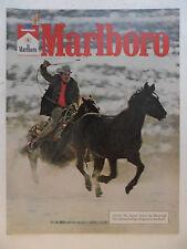 1977 Print Ad Marlboro Man Cigarettes Western Cowboy ~ Lasso on Horse