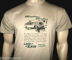 LAND ROVER  'GO anywhere...DO anything' ADVERT T-SHIRT - In Khaki S M L XL & XXL