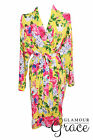Yellow Floral Print Vintage Rayon Cotton Robe Dressing Gown Wedding Bride