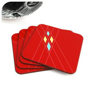 Mid Century Geometric Coasters in Red (4),  50s Argyle pattern retro coasters