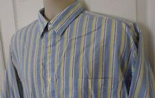Mens Lord And Taylor Button Front Shirt Long Sleeve Blue Yellow Striped Size L