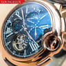 Mens Automatic Mechanical Watch - Rose Gold Black Dial Leather DIASTERIA 3109