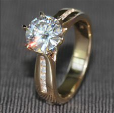 2Ct Round-Cut D/VVS1 Diamond Solitaire Engagement Ring 14K Yellow Gold Finish