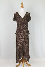Adrianna Papell Beaded Brown Silk 1920's Gatsby Style Dress Skirt & Top Set 10
