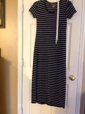 Just Love Black White striped short Sleeve maxi dress size Small Casual Summer