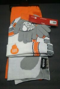 Star Wars BB8 Boy's 3 Piece pc Hat Scarf Gloves Set NWT OSFM Disney White,Orange