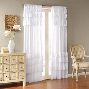 White Curtain Ruffle Panel Girls Bedroom Nursery Drape Window Covering Treatment