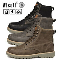 US Men's Leather Waterproof Work Martin Boots Ankle Casual Non-Slip Hiking Shoes