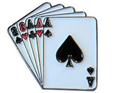 Dead Mans Hand Full House Poker Aces of Spares Aces Metal Enamel Badge 25mm