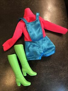 Vintage Mattel Mod Talking Busy Barbie Outfit & Japan Green Lace Boots #1195