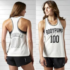 Reebok LesMills Mädchen Jerey Tank Top Mesh Shirt Sport Fitness Gym Kinder creme
