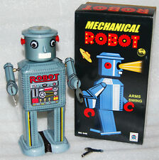 Mechanical Robot New In Box Tin Wind Up 1950'S Vintage Look With Vintage Box