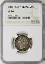 Newfoundland 1880 Silver 20 Cents NGC VF-20