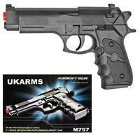 "UK ARMS 8.5"" Black Plastic Airsoft Pistol Handgun Gun w/BB M757 160FPS Beretta"