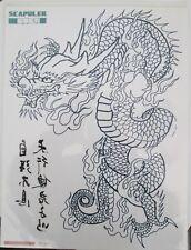 Tatouage éphémère, épaule- demi-bras, dragon bleu 24x32cm