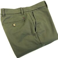TOMMY HILFIGER Chinos Men's THFLEX Stretch Slim Fit Olive Green