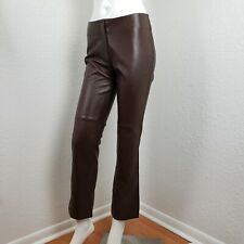 Sexy Bebe Brown Leather Pants Straight Leg Bottoms Flat Front Trousers Sz 6