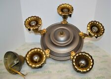 Atq Art Deco 5 Morning Glory Light Socket Brass/Gold/Silver Tone Ceiling Fixture