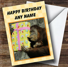 Orangutan And Baby Personalised Birthday Greetings Card