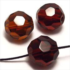 Lot de 10 perles à FACETTES 14mm en Cristal de Bohème Topaze Marron
