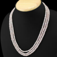 FACETED 178.00 CTS NATURAL 3 STRAND PINK ROSE QUARTZ ROUND BEADS NECKLACE (RS)