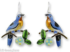 Zarah Zarlite BLUEBIRD and Dogwood EARRINGS Silver Plated Bird Flower - Gift Box