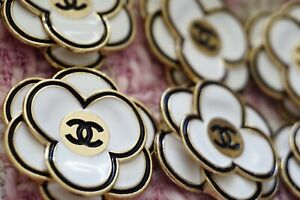 STAMPED VINTAGE CHANEL BUTTONS LOT OF 2 Two CAMELLIA 32mm