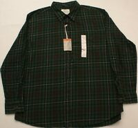St Johns Bay Men's Green Plaid Flannel Button Down Casual Shirt Size XXL 2XL