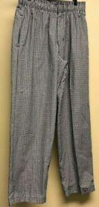 Chef Works Baggy Black/White Checkered Pants Elastic Waist 3 Pockets