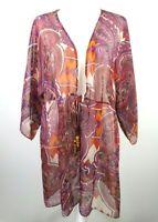 CABI Epic Tunic Top Women's XL Sheer Kimono Cover Up Open Front Tie Paisley 841