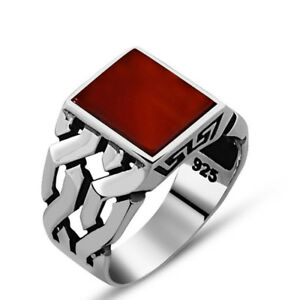 Handmade pure 925 SILVER red Agate RINGS for Men all sizes available Box RRP£40