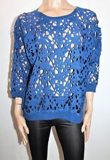 CITY COLLECTION Brand Blue Heavy Lace 3/4 Sleeve Jumper Size XL BNWT #TC08