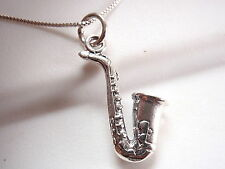 Saxophone Plain Silver Necklace 925 Sterling Silver Corona Sun Jewelry Musician