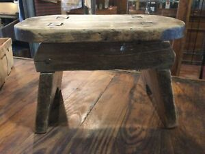 Vintage Country Primitive Wood Foot Stool Cricket Bench Mortise and Tenon Joint