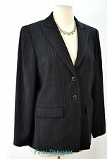 Jones New York black blazer light coat suit Jacket gangster stripe button 8P NEW